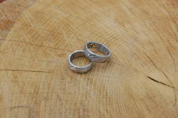 Trauringpaar in Silber und Mujodogane